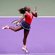 Serena Williams of the U.S. hits a return to Russia's Maria Sharapova during their final WTA tennis championships match in Istanbul, October 28, 2012. Photo by Aykut AKICI/TURKPIX