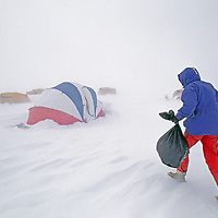 An Antarctic explorer approaches his tent in a storm.