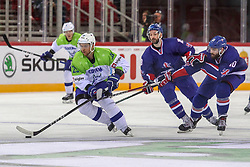 Luka Vidmar of Slovenia during Ice Hockey match between National Teams of Great Britain and Slovenia in Round #1 of 2018 IIHF Ice Hockey World Championship Division I Group A, on April 22, 2018 in Budapest, Hungary. Photo by David Balogh / Sportida