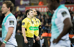 Referee Ben Whitehouse waits for the TMO<br /> <br /> Photographer Simon King/Replay Images<br /> <br /> Guinness PRO14 Round 19 - Ospreys v Connacht - Friday 6th April 2018 - Liberty Stadium - Swansea<br /> <br /> World Copyright © Replay Images . All rights reserved. info@replayimages.co.uk - http://replayimages.co.uk
