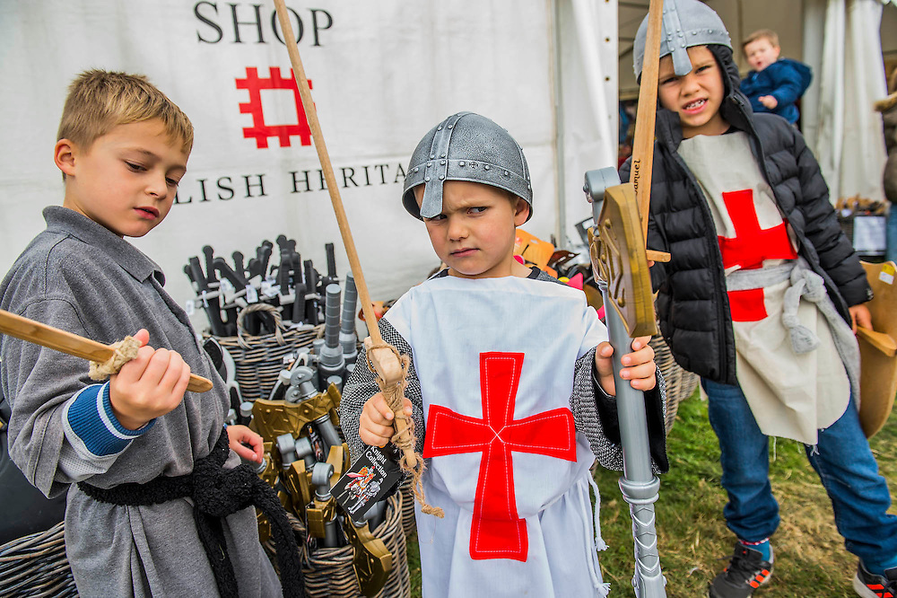 Children are drawn to the toy axes, swords and helmets - English Heritage's annual re-enactment of the Battle of Hastings marks the 950th anniversary of the Battle in 1066. The event includes a Cavalry encampment, Norman & Saxon encampments and Medieval traders. It takes place at Battle Abbey on October 15th and 16th.