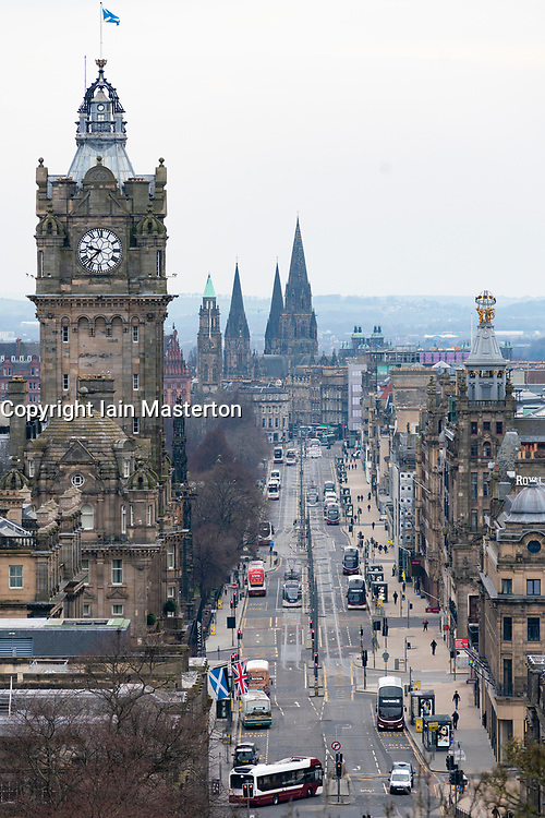 Edinburgh, Scotland, UK. 24 March, 2020.  A much quieter than normal Princes Street viewed from Calton Hill.  All shops and restaurants are closed with very few people venturing outside following the Government imposed lockdown today. Iain Masterton/Alamy Live News