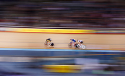 Yoeri Havik (left), Fred Wright and Andy Tennant (right) during the men's team elimination race during Round One of the 2017/18 Revolution Series at Lee Valley Velo Park, London.
