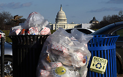 Trash builds up along the National Mall as trash collectors are off work during a partial shutdown of the federal government, on December 24, 2018 in Washington, DC. Parts of the U.S. government shut down on Saturday for the third time this year after a bipartisan spending deal collapsed over President Donald Trump's demands for more money to build a wall along the U.S.-Mexico border. Photo by Olivier Douliery/ABACAPRESS.COM