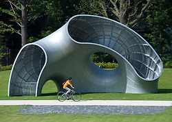 Large modern art sculpture in park at new upmarket Tokyo Midtown property development in Roppongi Tokyo Japan