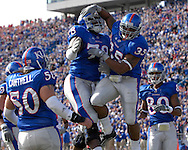 November 3, 2007 - Lawrence, KS..Running back Brandon McAnderson #35 of the Kansas Jayhawks celebrates with teammate Anthony Collins #78 after scoring in the second quarter against the Nebraska Cornhuskers, during a NCAA football game at Memorial Stadium on November 3, 2007...FBC:  The Jayhawks defeated the Huskers 76-39.  .Photo by Peter G. Aiken/Cal Sport Media