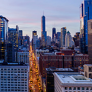 Chicago Loop aerial dusk view from Pritzker Park