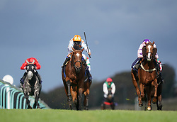 Darragh Keenan riding Sobriquet (right) on their way to winning the Download The vickers.bet App Handicap at Brighton racecourse. Picture date: Tuesday October 5, 2021.