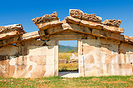 The  Pediment of the Greek 3-2 cent B.C Temple of Artimis, Magnesia on the Meander arcaeological site, Turkey .<br /> <br /> If you prefer to buy from our ALAMY PHOTO LIBRARY  Collection visit : https://www.alamy.com/portfolio/paul-williams-funkystock/magnesia-site-turkey.html<br /> <br /> Visit our ANCIENT GREEKS PHOTO COLLECTIONS for more photos to download or buy as wall art prints https://funkystock.photoshelter.com/gallery-collection/Ancient-Greeks-Art-Artefacts-Antiquities-Historic-Sites/C00004CnMmq_Xllw