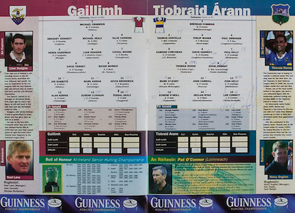 All Ireland Senior Hurling Championship Final,.09.09.2001, 9th September 2001,.Minor Cork 2-10, Galway 1-8,.Senior Tipperary 2-18, Galway 2-15,  .09092001AISHCF,....Tipperary - B.Cummins, T.Costello, P.Maher, P.Ormonde, E.Corcoran, D.Kennedy, P.Kelly, T.Dunne (Capt.), E.Enright, M.O'Leary, J.Carroll, P.Corbett, E.Kelly, D.Ryan, E.O'Neill. Subs - D.Fahy for Costello, P.O'Brien for O'Neill, M.Ryan for P.Kelly, C.Gleeson for Kennedy...  Galway - M.Crimmins, G.Kennedy, M.Healy, O.Canning, D.Hardiman, L.Hodgins, C.Moore, D.Tierney, R.Murray, J.Rabbitte, M.Kerins, K.Broderick, A.Kerins, E.Cloonan, F.Healy. Subs - B.Higgins for Hardiman, O.Fahy for Rabbitte..Referee - P.O'Connor (Limerick)..
