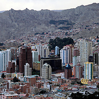South America, Bolivia, La Paz. Scenic vista of the city of La Paz.