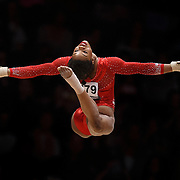 Gabrielle Douglas of the USA performs on the Floor during the Women's All-Round Final at the 46th FIG Artistic Gymnastics World Championships in Glasgow, Britain, 29 October 2015.