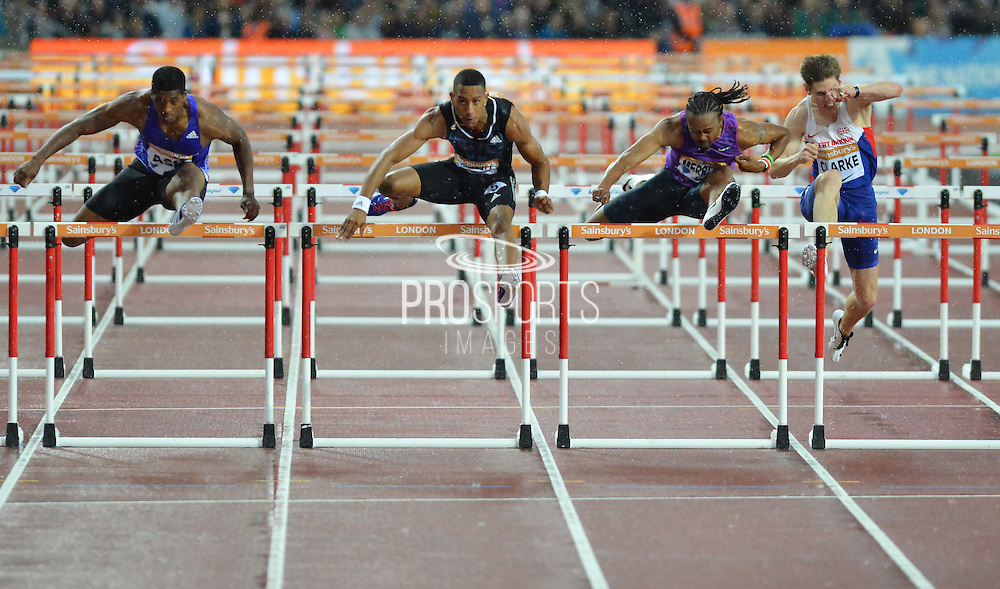 Heat A 110m Hurdles winner Orlando Ortega of Cuba at the Sainsbury's Anniversary Games at the Queen Elizabeth II Olympic Park, London, United Kingdom on 24 July 2015. Photo by Mark Davies.