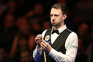 Judd Trump of England looks on during his 1st round match against Andrew Higginson of England .  Coral Welsh Open Snooker 2017, day 2 at the Motorpoint Arena in Cardiff, South Wales on Tuesday 14th February 2017.<br /> pic by Andrew Orchard, Andrew Orchard sports photography.
