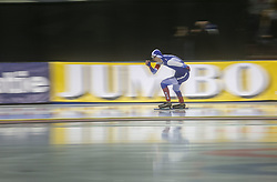 March 9, 2019 - Salt Lake City, Utah, USA - Danilia Semerikov Russia competes in the 5000m speed skating finals at the ISU World Cup at the Olympic Oval in Salt Lake City, Utah. (Credit Image: © Natalie Behring/ZUMA Wire)