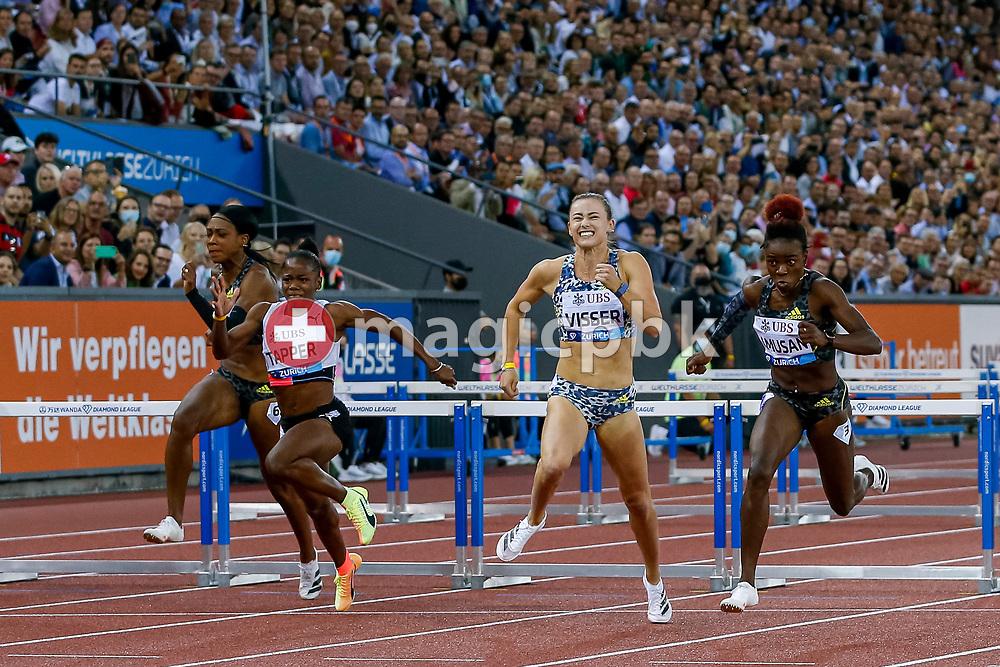 Tobi Amusan (R) of Nigeria on her way winning the 100m Hurdles Women during the Iaaf Diamond League meeting (Weltklasse Zuerich) at the Letzigrund Stadium in Zurich, Switzerland, Thursday, Sept. 9, 2021. (Photo by Patrick B. Kraemer / MAGICPBK)
