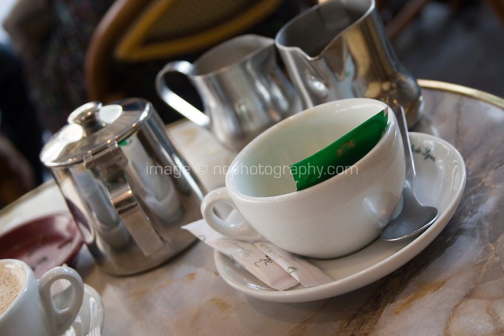Tea cup on a cafe table in Nice the South of France