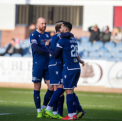 Dundee's Kane Hemmings (28) celebrates after scoring their first goal. half time : Dundee 2 v 0 Partick Thistle, Scottish Championship game played 8/2/2020 at Dundee stadium Dens Park.