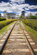 On the Tracks to Old Montreal Skyline, Quebec, Canada