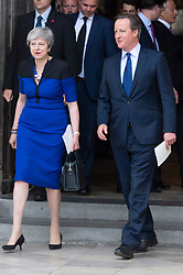 © Licensed to London News Pictures. 20/06/2019. London, UK. British Prime Minister Theresa May and former British Prime Minister David Cameron attend a Service of Thanksgiving for Lord Haywood at Westminster Abbey. Jeremy Heywood served as Cabinet Secretary from 2012 and Head of the Home Civil Service until shortly before his death in 2018. Photo credit: Ray Tang/LNP