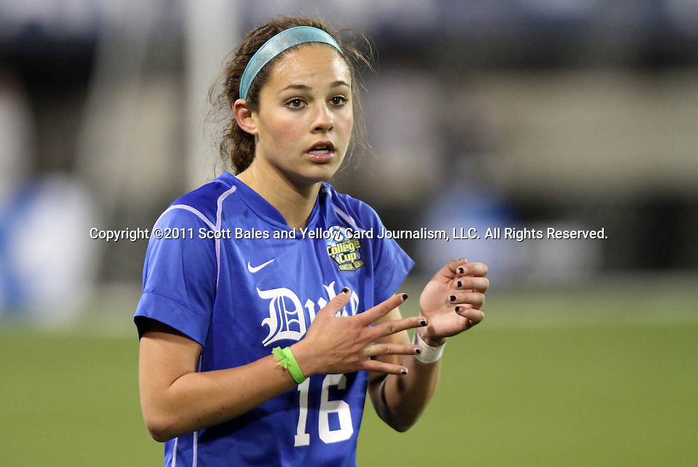 02 December 2011: Duke's Laura Weinberg. The Duke University Blue Devils defeated the Wake Forest University Demon Deacons 4-1 at KSU Soccer Stadium in Kennesaw, Georgia in an NCAA Division I Women's Soccer College Cup semifinal game.