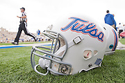 Dec 1, 2012; Tulsa, Ok, USA; A Tulsa Hurricanes helmet on the sidelines during a game against the University of Central Florida Knights at Skelly Field at H.A. Chapman Stadium. Tulsa defeated UCF 33-27 in overtime to win the CUSA Championship. Mandatory Credit: Beth Hall-USA TODAY Sports