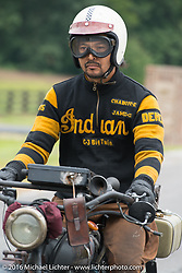 Yoshimasa Nimmi riding the team 80 1915 Indian Twin that he co-rides with Shinya Kimura during Stage 4 of the Motorcycle Cannonball Cross-Country Endurance Run, which on this day ran from Chatanooga to Clarksville, TN., USA. Monday, September 8, 2014.  Photography ©2014 Michael Lichter.