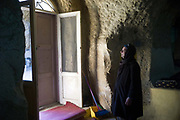 A portrait of an old Copt man in the cave church of St Bola's, Cairo, Egypt