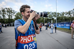 August 15, 2018 - Tallinn, Estonia - A photographer seen taking pics before the UEFA Super Cup..The 2018 UEFA Super Cup was the 43rd edition of the UEFA Super Cup, an annual football match organized by UEFA and contested by the reigning champions of the two main European club competitions, the UEFA Champions League and the UEFA Europa League. It was played at the A. Le Coq Arena in Tallinn, Estonia. (Credit Image: © Hendrik Osula/SOPA Images via ZUMA Wire)