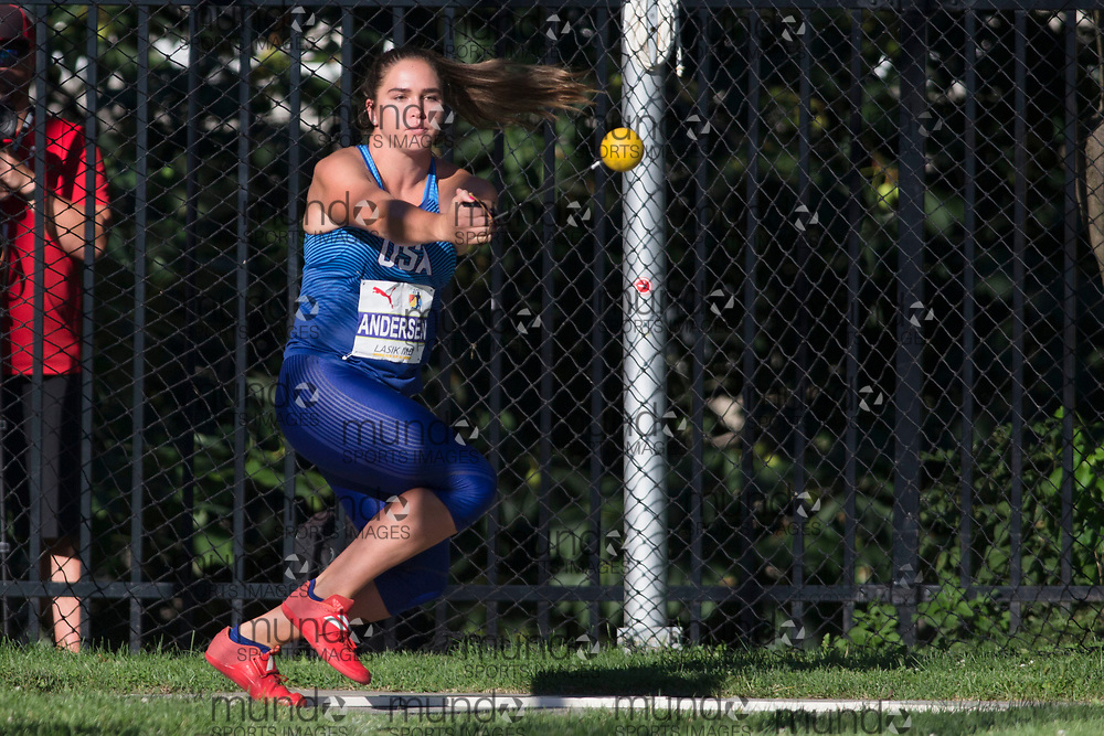Toronto, ON -- 10 August 2018: Brooke Anderson (USA) in hammer throw at the 2018 North America, Central America, and Caribbean Athletics Association (NACAC) Track and Field Championships held at Varsity Stadium, Toronto, Canada. (Photo by Sean Burges / Mundo Sport Images).