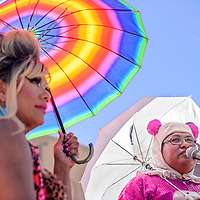 Masters of Ceremony Mattee Jim, right, and Stella Johnson welcome guest to the Gallup Pride festival at the McKinley Courthouse Plaza in Gallup Saturday.
