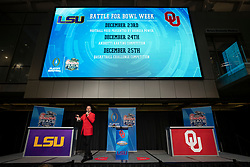 LSU and Oklahoma attend a welcome dinner at the Chick-fil-A College Football Hall of Fame on Monday, Dec. 23, where both teams competed in the first Battle for the Bowl Week Football Feud competition. LSU will face Oklahoma in the 2019 College Football Playoff Semifinal at the Chick-fil-A Peach Bowl. (Paul Abell via Abell Images for the Chick-fil-A Peach Bowl)