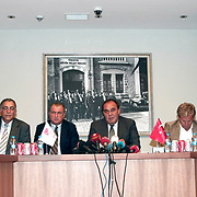 Turkish national soccer team new coach Fatih Terim (4ndL) attend a signing ceremony in Istanbul, Turkey on 22 August 2013. Turkish Football Federation has agreed a 1-year contract with Fatih Terim for Turkish A National Team Head Coach. Terim signed his contract today in TFF Headquarters, Istanbul with the participation of TFF President Yildirim Demiroren (CR), TFF Executive Board and TFF General Secretary. Fatih Terim will take charge of Turkey for the rest of their 2014 FIFA World Cup qualifying campaign, starting next month, while remaining in his role as coach of Galatasaray. Photo by TURKPIX