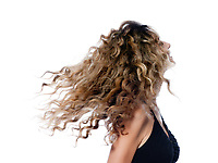 beautiful caucasian woman shake curly hair portrait isolated studio on white background