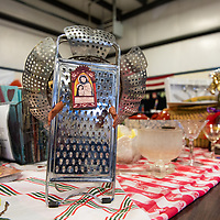 Barbara Babcock makes fun art out of old kitchen materials that she sells at the Recycled Crafts Fair on November 2, 2019 at the Gallup Community Service Center helping to promote recycling in fun ways.