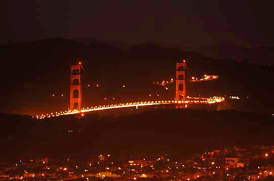 An evening shot of the Golden Gate Bridge bathed in light. The city lights of San Francisco in the foreground.