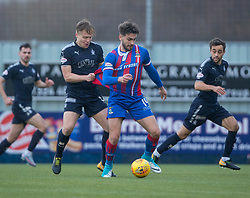 Falkirk's Peter Grant and Inverness Caledonian Thistle's George Oakley. half time : Falkirk 0 v 0 Inverness Caledonian Thistle, Scottish Championship game played 27/1/2018 at The Falkirk Stadium.