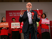 London, United Kingdom - 11 December 2019<br /> Labour Party leader Jeremy Corbyn speaking at their final campaign rally before the General Election 2019 at Hoxton Docks, London, England, UK.<br /> (photo by: EQUINOXFEATURES.COM)<br /> Picture Data:<br /> Photographer: Equinox Features<br /> Copyright: ©2019 Equinox Licensing Ltd. +443700 780000<br /> Contact: Equinox Features<br /> Date Taken: 20191211<br /> Time Taken: 21435995<br /> www.newspics.com