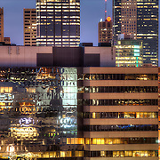 Part of downtown Kansas City Missouri zoomed in viewed from next to Liberty Memorial.