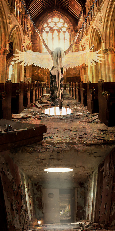 A winged angel rising inside a cathedral of light. A woman hangs suspended by chains over a dilapidated hallway. Religious tone of a human dilemma, the struggle between the chains of pleasure and the fleeing from pain. Lost in the maze of heaven and hell, earth and sky, drudgery and elation, two aspects of the human condition at once; the shadow and the shine, darkness and light.