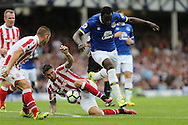 Romelu Lukaku of Everton (r) is tackled by Geoff Cameron of Stoke City. Premier league match, Everton v Stoke city at Goodison Park in Liverpool, Merseyside on Saturday 27th August 2016.<br /> pic by Chris Stading, Andrew Orchard sports photography.