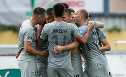 Players of Olimpija celebrate after scoring first goal during football match between NK Domzale and NK Olimpija in 29th Round of Prva liga Telekom Slovenije 2019/20, on June 21, 2020 in Sports park, Domzale, Slovenia. Photo by Vid Ponikvar / Sportida