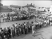 Croke Park Ticket Queues.1983.28.08.1983.08.28.1983.28 August 1983..Image taken as thousands of Dubliners queue to capture vital All Ireland Replay Tickets. The replay Between Dublin and Cork was to be held in Cork. the queues begin to shorten as the ticket sale starts in earnest...Note: Dublin beat Cork in a very exciting encounter and the went on to beat Galway 1.10 to 1.08 in the final at Croke Park.