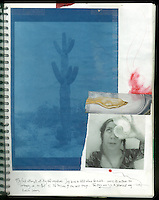Cyanotype of Saguaro cactus from a digital negative. Self portrait. Art Journal by Elena Ray. Handmade artist's journals filled with collage and crazy wisdom.