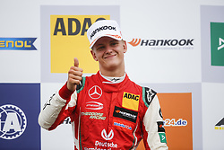 August 18, 2018 - Towcester, United Kingdom - MICK SCHUMACHER of Germany and Prema Theodore Racing is seen on the podium after winning the 2018 FIA Formula 3 European Championship race 2 at Silverstone Circuit in Towcester, United Kingdom. (Credit Image: © James Gasperotti via ZUMA Wire)