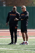 Los Angeles Wildcats defensive backs coach Otis Smith (left) and offensive coordinator Norm Chow during practice, Wednesday, Feb. 5, 2020, in Long Beach, Calif. The Wildcats are part of the eight-team XFL, a professional American football league owned by Vince McMahon's Alpha Entertainment, with  headquarters in Stamford, Connecticut. It is the successor to the original XFL, which was controlled by the World Wrestling Federation (WWF, now WWE)  and NBC, and ran for a single season in 2001.