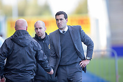 Falkirk's manager Peter Houston and Dumbarton's manager Ian Murray at the end.<br /> Falkirk 1v 1 Dumbarton, Scottish Championship game played 20/9/2014 at The Falkirk Stadium .