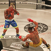 HOLLYWOOD, FL - JUNE 27: Thiago Alves knocks down Ulysses Diaz during the Bare Knuckle Fighting Championships at the Seminole Hard Rock & Casino on June 27, 2021 in Hollywood, Florida. (Photo by Alex Menendez/Getty Images) *** Local Caption *** Thiago Alves; Ulysses Diaz