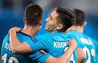 ST PETERSBURG, RUSSIA - OCTOBER 19, 2017. UEFA Europa League group stage: Zenit St Petersburg (Russia) 3 – 1 Rosenborg BK (Norway). Zenit St Petersburg's Emiliano Rigoni (L), and Matias Kranevitter (R) celebrate scoring.