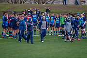 Gregor Townsend Finishes the session with a talk to the squad during the training session and press conference for Scotland Rugby at Clydebank Community Sports Hub, Clydebank, Scotland on 13 February 2019.